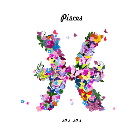 pisces sign: Pattern with butterflies, cute zodiac sign - pisces