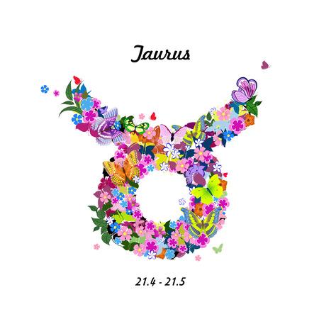 signes du zodiaque: Motif de papillons, signe du zodiaque mignon - taurus