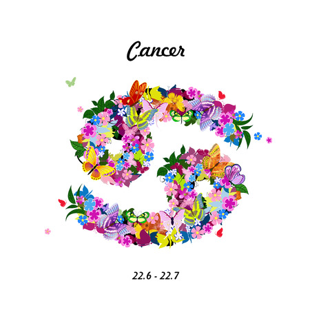 horoscope: Pattern with butterflies, cute zodiac sign - cancer