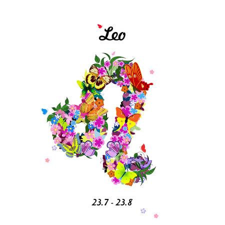 Pattern with butterflies, cute zodiac sign - leo 일러스트
