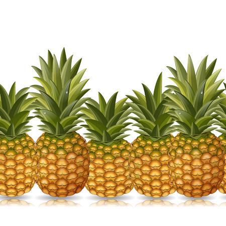 agriculture wallpaper: seamless border of pineapple   Illustration