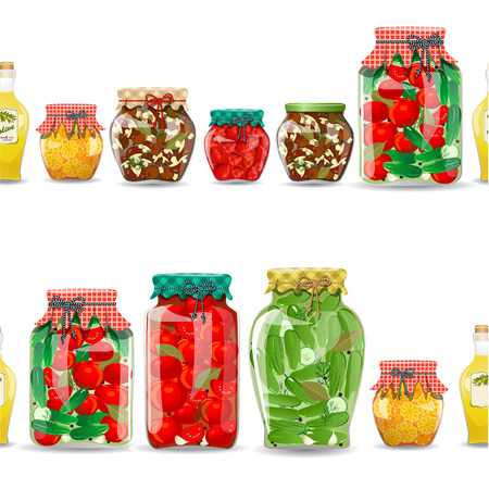 canned food: seamless border with preserve food
