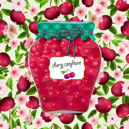 seamless texture with preserve cherry Illustration