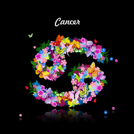 fortune flower: Pattern with butterflies, cute zodiac sign - cancer