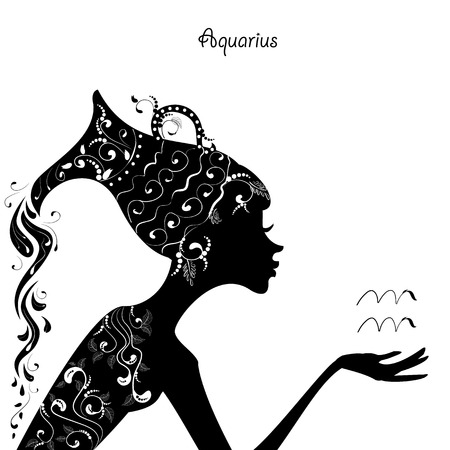 aquarius: Zodiac sign aquarius. fashion girl