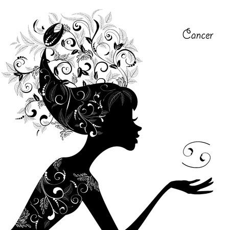 Sterrenbeeld kanker. mode meisje Stock Illustratie