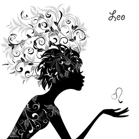 Zodiac sign leo. fashion girl Vector