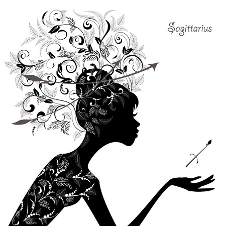 Zodiac sign sagittarius. fashion girl Vector
