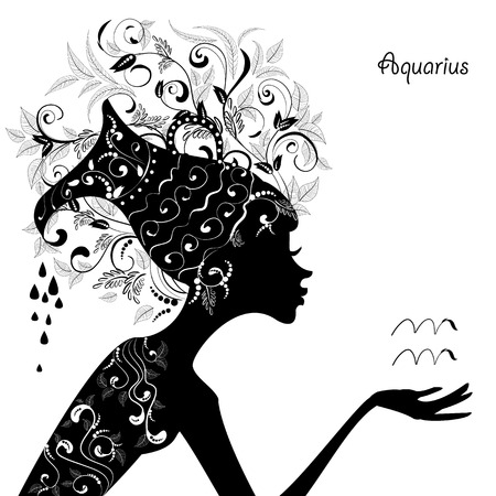 Zodiac sign aquarius. fashion girl Vector