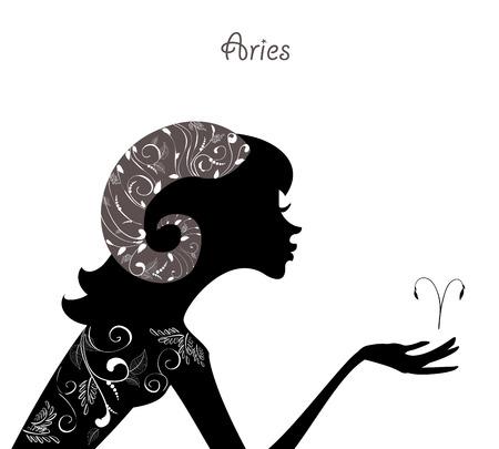 Zodiac sign aries. fashion girl Vector