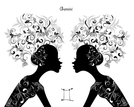 Zodiac sign gemini. fashion girl Vector