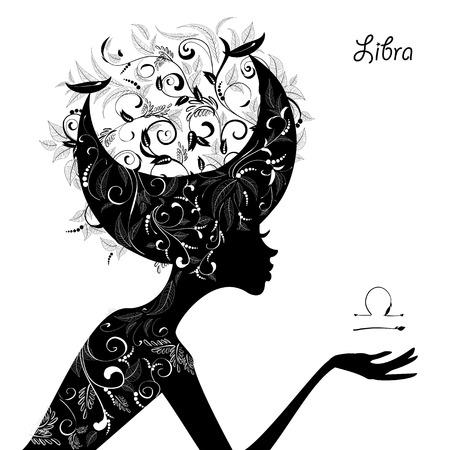 libra: Zodiac sign libra. fashion girl Illustration