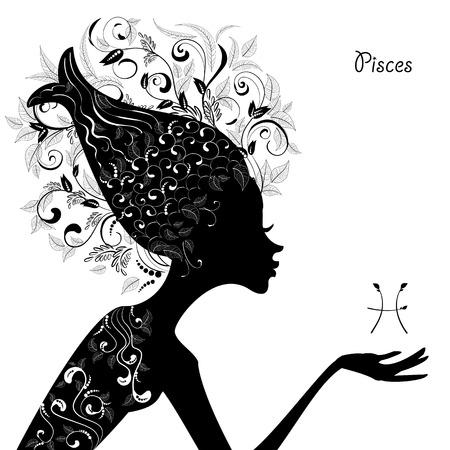 Zodiac sign pisces. fashion girl Illustration