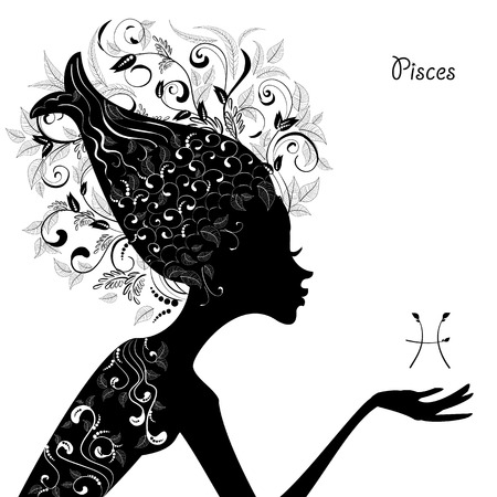 Zodiac sign pisces. fashion girl Vector
