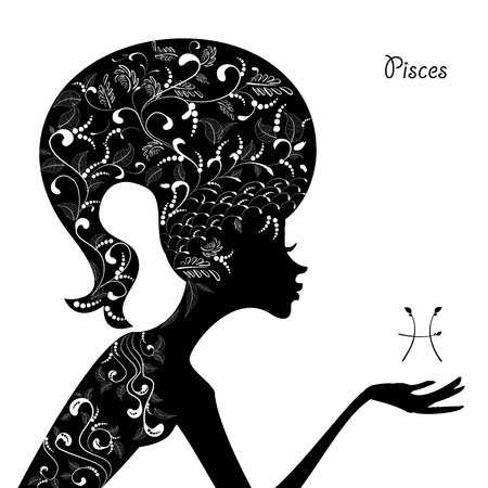 Zodiac sign pisces. fashion girl Vector