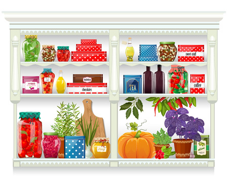 supermarket shelf: Fresh produce and glass bottles with preserved food at home