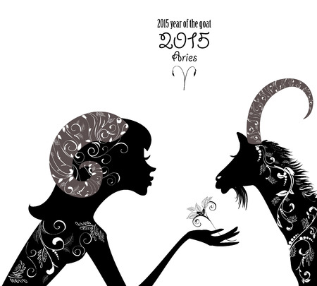 2015 year of the beautiful goat and Zodiac sign aries. fashion girl  Vector