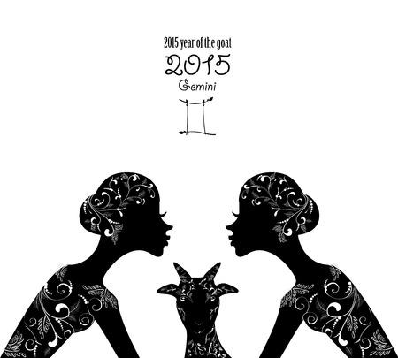 gemini girl: 2015 year of the beautiful goat and Zodiac sign gemini. fashion girl