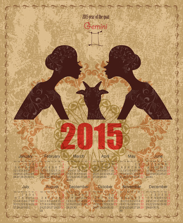 gemini girl: Calendar for 2015 year with a goat and Zodiac sign gemini. fashion girl with vintage background Stock Photo
