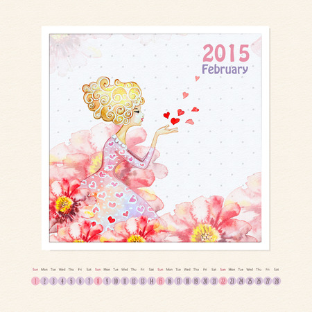 Calendar for february 2015 with girl, watercolor painting photo