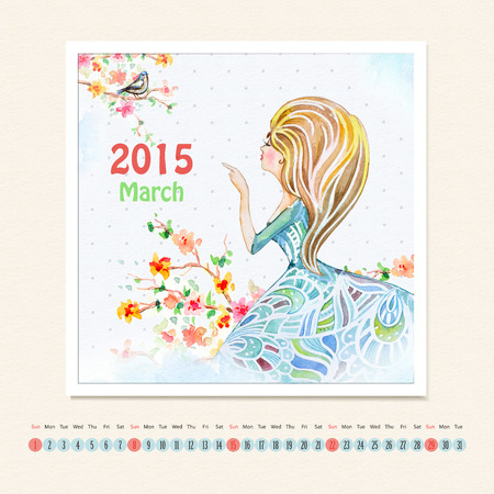 Calendar for march 2015 with girl, watercolor painting photo