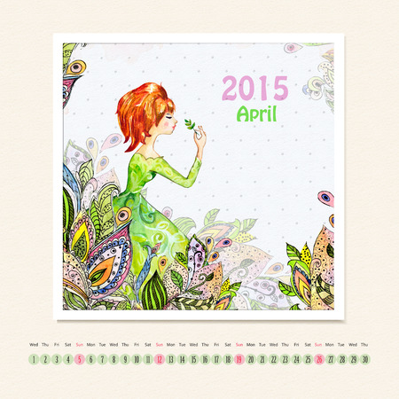 Calendar for april 2015 with girl, watercolor painting photo