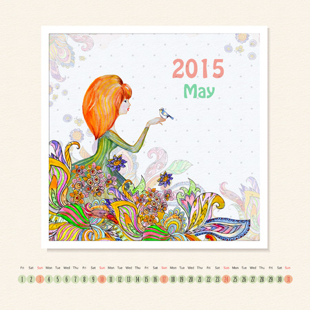 Calendar for may 2015 with girl, watercolor painting photo