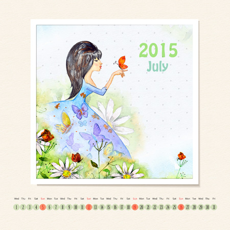 Calendar for july 2015 with girl, watercolor painting photo