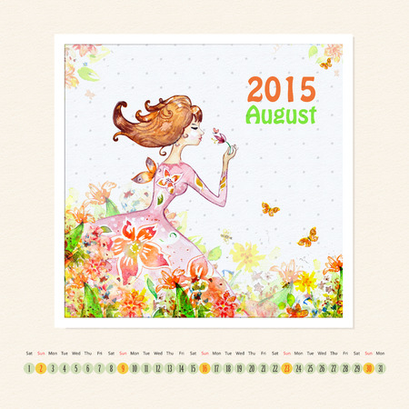 Calendar for august 2015 with girl, watercolor painting photo