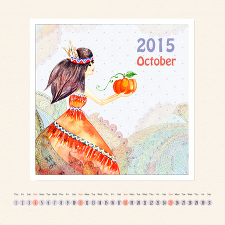 Calendar for october 2015 with girl, watercolor painting photo