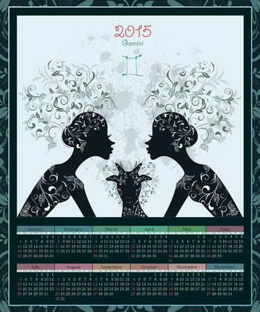 gemini girl: Calendar for 2015 year with a goat and Zodiac sign gemini. fashion girl Illustration