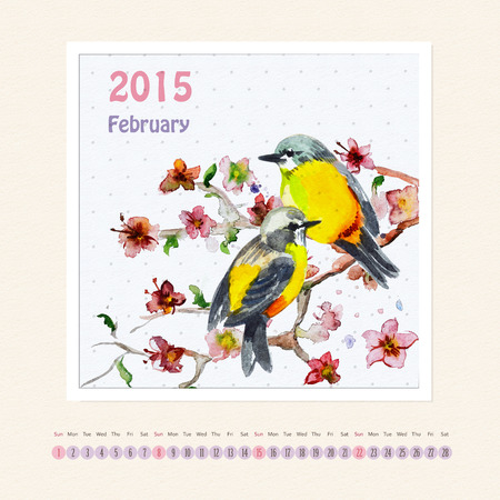 Calendar for february 2015 with bird, watercolor painting photo