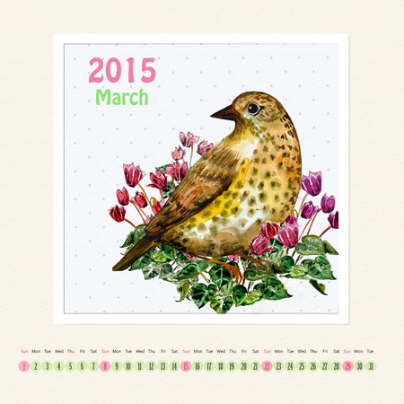 Calendar for march 2015 with bird, watercolor painting photo