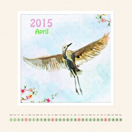 Calendar for april 2015 with bird, watercolor painting photo