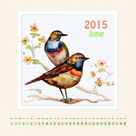 Calendar for june 2015 with bird, watercolor painting photo