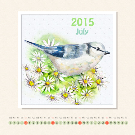 jule: Calendar for july 2015 with bird, watercolor painting Stock Photo