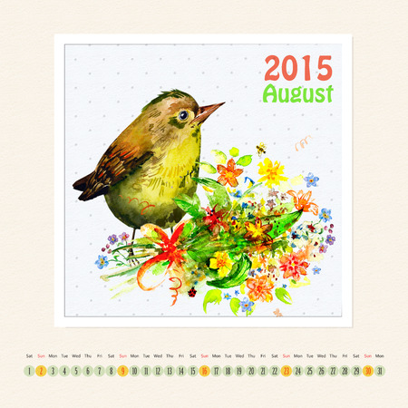 Calendar for august 2015 with bird, watercolor painting photo