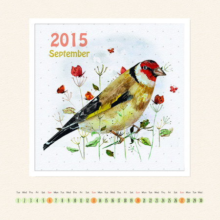 Calendar for september 2015 with bird, watercolor painting photo
