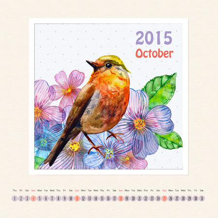 Calendar for october 2015 with bird, watercolor painting photo