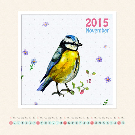 Calendar for november 2015 with bird, watercolor painting photo