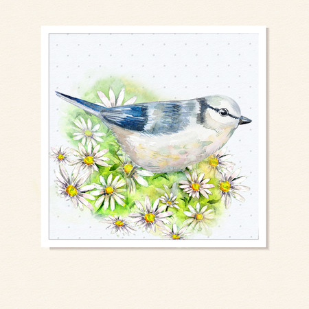 chinese watercolor: watercolor card with a bird