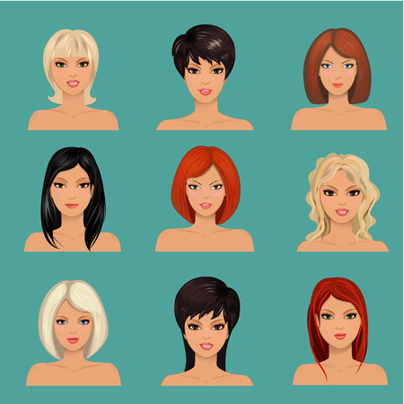 collection of portraits a beautiful girls Vector