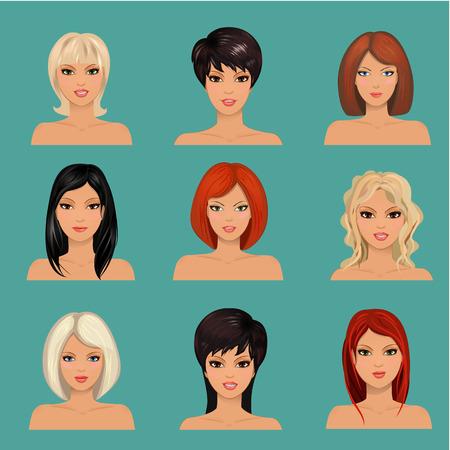 colección de retratos unas hermosas chicas