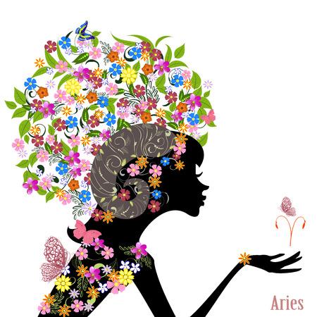 Aries signo del zodiaco. chica de moda