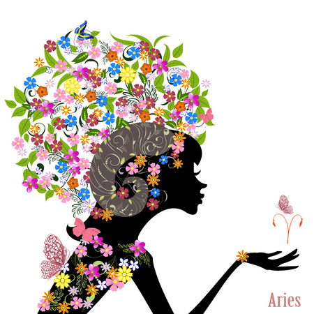 Zodiac sign aries. fashion girl