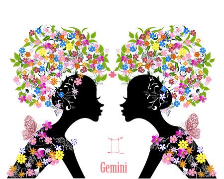 星座は双子座。ファッションの女の子  イラスト・ベクター素材