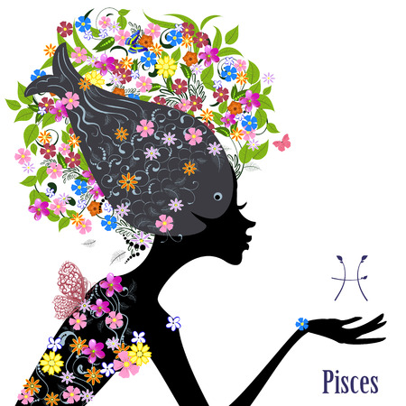 pisces sign: Zodiac sign pisces. fashion girl Illustration