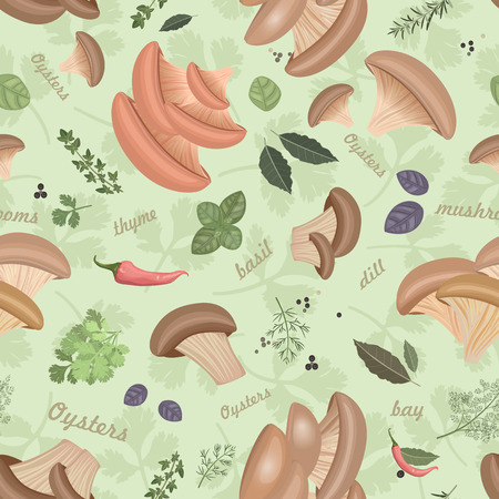 edible: Seamless texture with Edible mushroom oysters and herbs Illustration