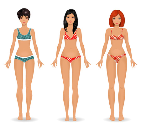 collection Female body template front Stock fotó - 31427896