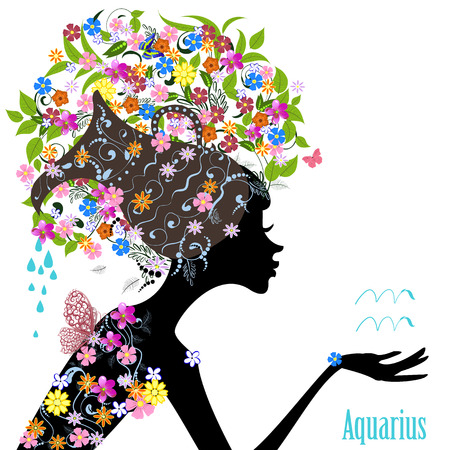 sumer: Zodiac sign aquarius. fashion girl